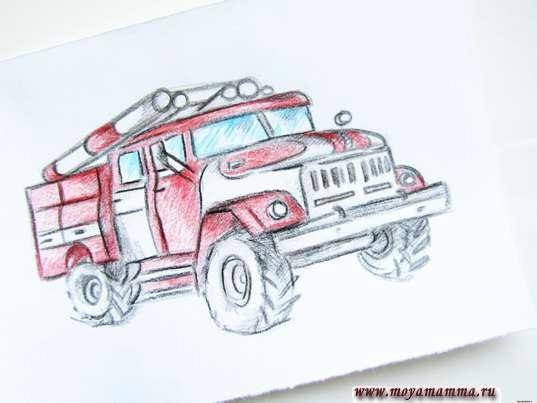 рисунок для детей пожарная машина