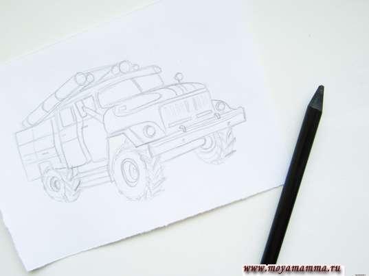 Готовый рисунок пожарной машины