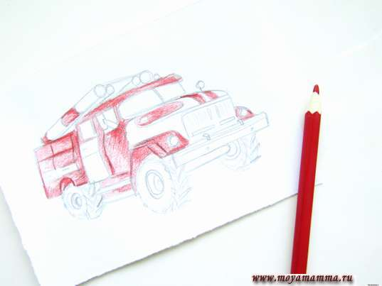 Закрашивание красным карандашом