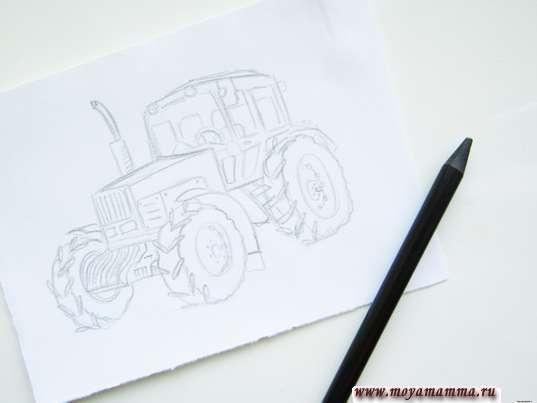 Готовый рисунок тракторапростым карандашом