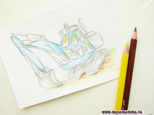 Рисование желтым и темно-коричневым карандашами