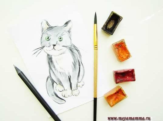 рисунок для детей кошка