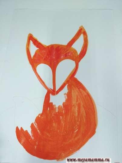 Спинка, грудь и хвост лисенка оранжевым цветом