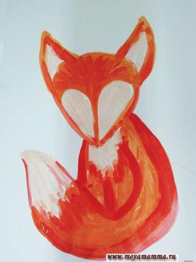 Рисование лисенка гуашью