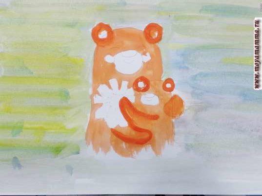 Оранжевой гуашью прорисовываем лапки и уши медведей.