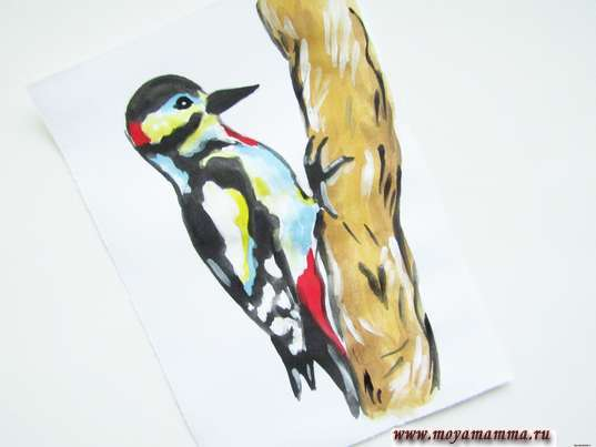 рисунок дятел на дереве