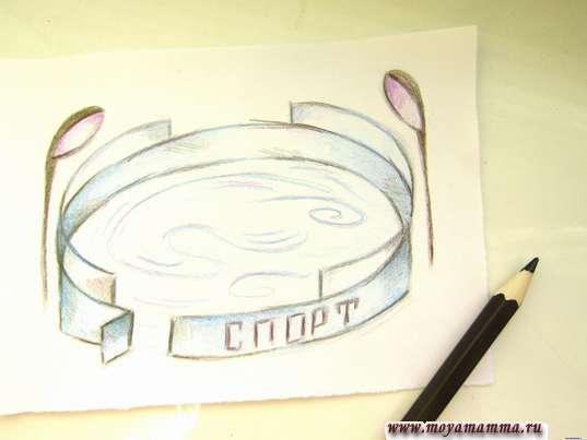 Конту рисунка светло-коричневым карандашом