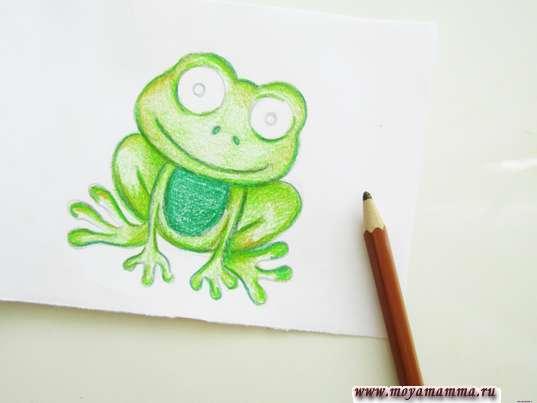Животик и грудка темно-зеленым карандашом
