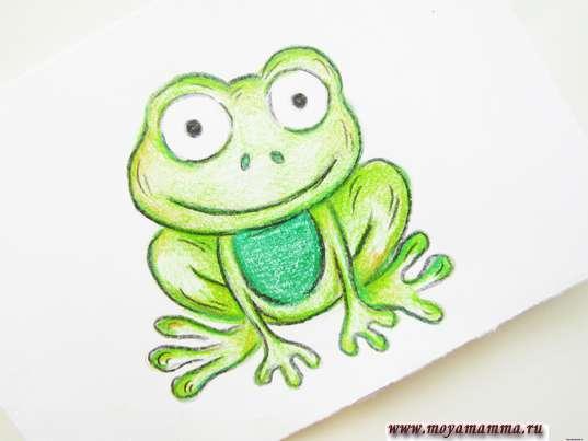 рисунок лягушка карандашами