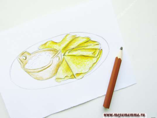 Дорабатывание рисунка коричневым карандашом.