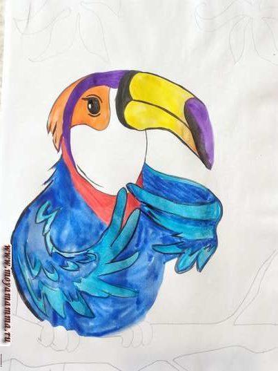 Рисунок тукан. Фиолетовая деталь на голове