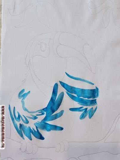 Рисунок тукан. Раскрашивание крыльев
