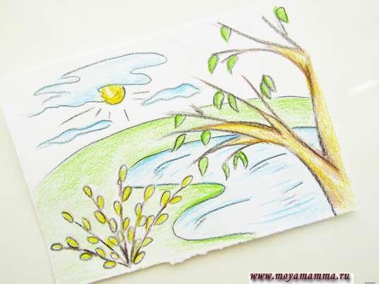 рисунок весеннего дня