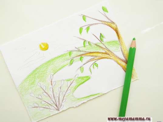 Лужайка светло-зеленым карандашом