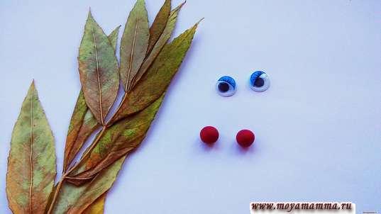 2 небольших красных шарика и 2 кукольных глазика