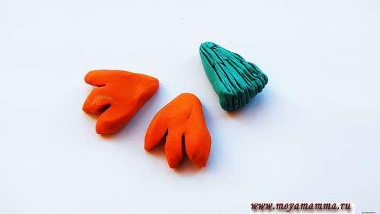 Хвост и лапки из пластилина