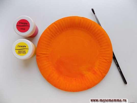 Окрашивание бумажной тарелки