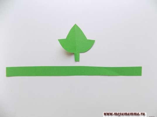 Заготовки для листочков из зеленой бумаги