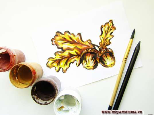 как нарисовать желуди