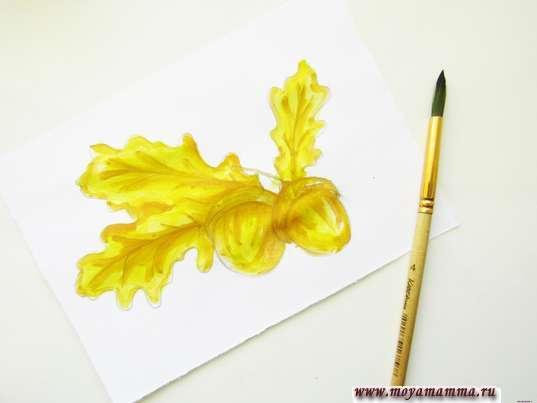 Дополнение осеннего рисунка оранжевым оттенком