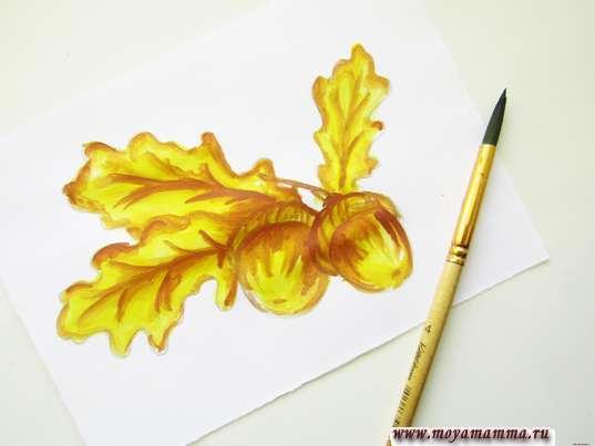 Усиление тона рисунка коричневым цветом, который смешиван с красным на палитре