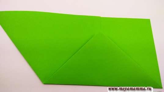 острый угол согните вверх по боковой стороне малого треугольника