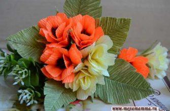 мелкие цветы из гофрированной бумаги