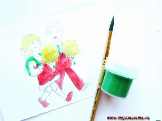 Закрашивание зеленой краской