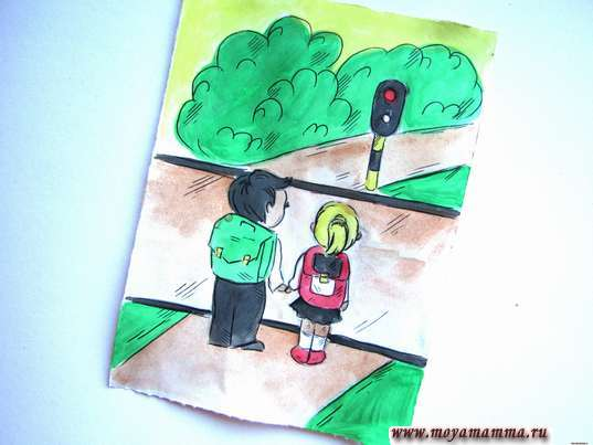 рисунок дети переходят дорогу