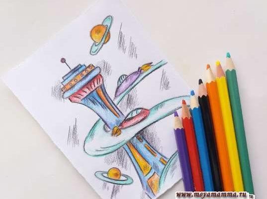 рисунок для детей город будущего