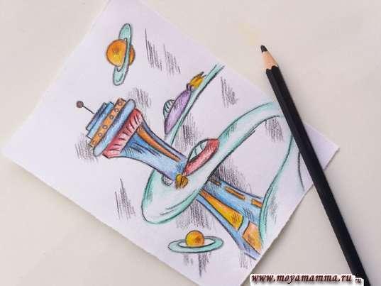 risunok dlya detey gorod buduschego 12 - Нарисовать как будет выглядеть город в будущем