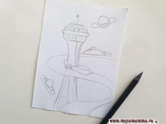 risunok dlya detey gorod buduschego 5 - Нарисовать как будет выглядеть город в будущем
