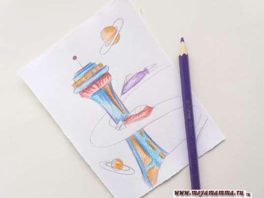 risunok dlya detey gorod buduschego 9 - Нарисовать как будет выглядеть город в будущем