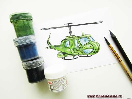 военный вертолет рисунок для детей