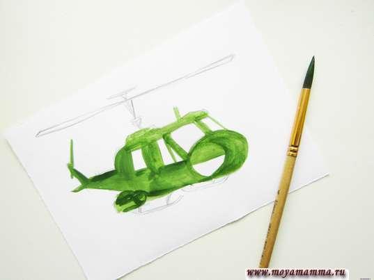 Закрашивание темно-зеленым цветом