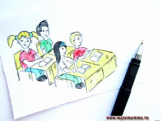 Рисунок карандашом Дети в классе. Контур черной гелевой ручкой