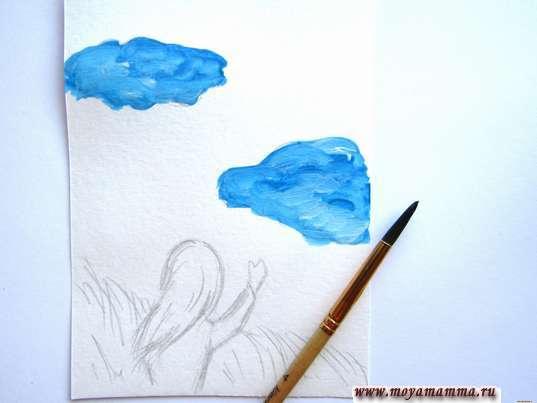 облака синей гуашью
