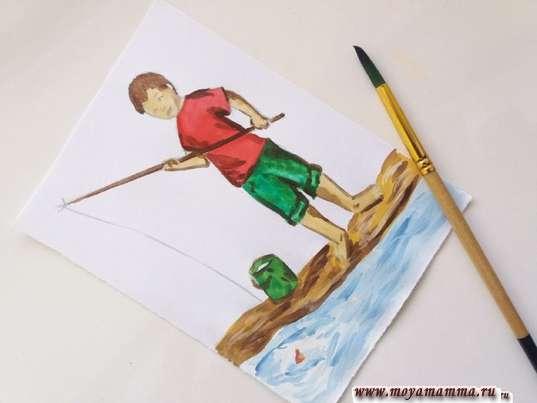 Дорабатывание рисунка коричневым цветом краски
