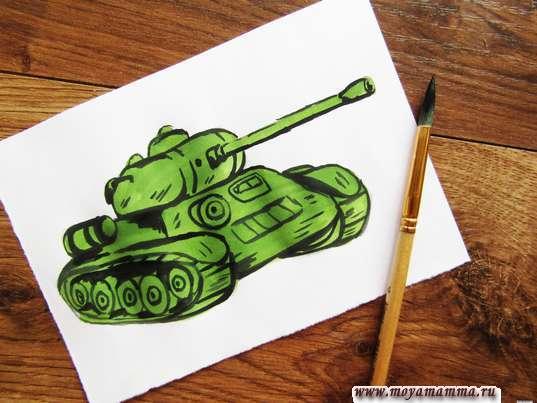 Контур танка черной гуашью