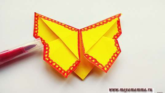 Закладка бабочка оригами. Украшение бабочки