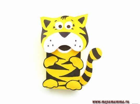 Тигр из цветной бумаги