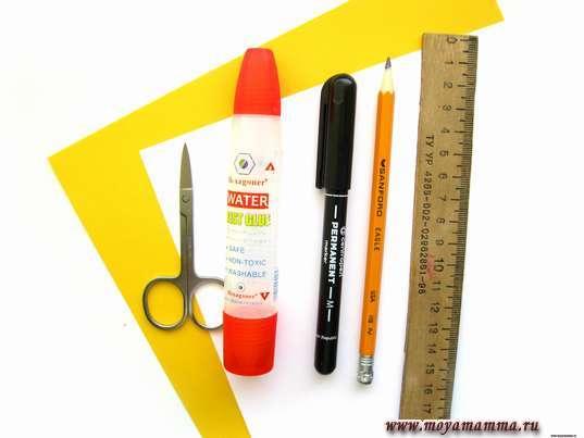 Цветная бумага3,3 клей, ножницы и другие материалы