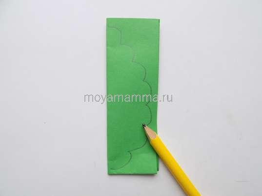 Рисование контура листочка