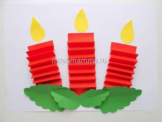 Аппликация свечи. Приклеивание маленьких листочков