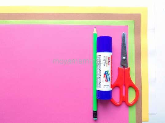 Цветная бумага, клей, ножницы, картон