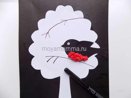 Зимняя аппликация Снегирь. Рисование веточек на зимнем дереве.