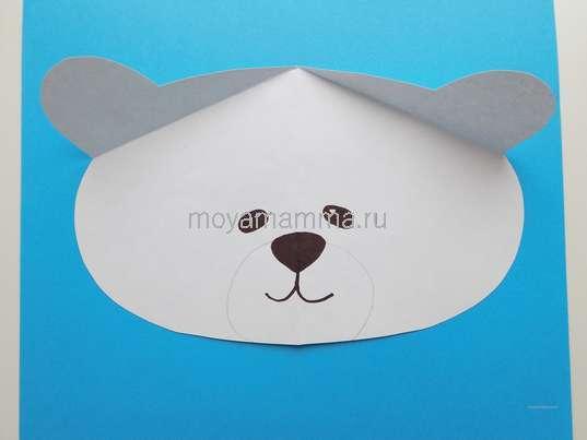 Аппликация белый мишка. Оформление мордочки мишки