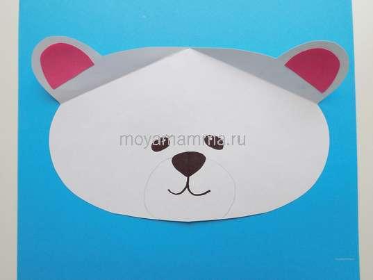 Аппликация белый мишка. Оформление ушек