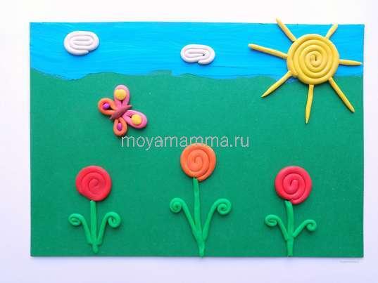 Цветочная поляна из пластилина. Изготовление бабочки