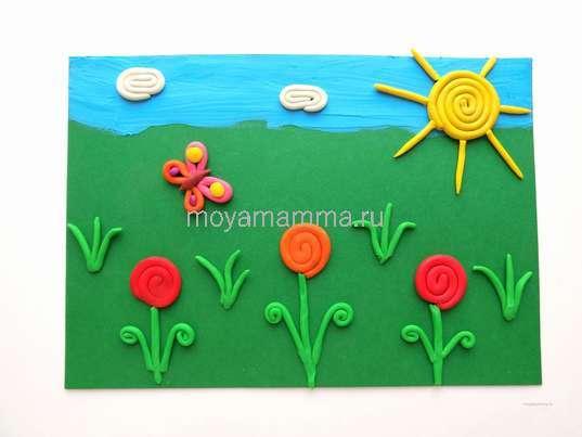 цветочная поляна из пластилина